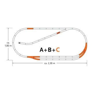 Coffret de rails Geoline C -HO-1/87-ROCO 61102