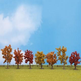 7 arbres d'automne de 80 à 100mm- Toutes échelles-NOCH 25070
