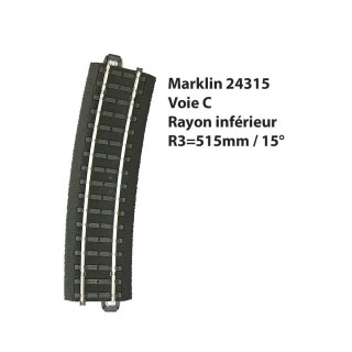 Rail courbe R3-515mm 15°-HO 1/87-MARKLIN 24315