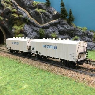Coffret de 2 wagons INTERFRIGO Sncf époque IV-HO-1/87-LSMODELS 30512