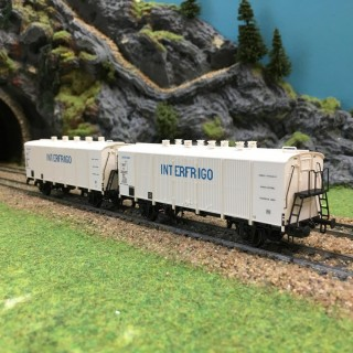 Coffret de 2 wagons INTERFRIGO Sncf époque IIIB-HO-1/87-LSMODELS 30511