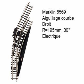 Rail aiguillage courbe R 195mm 30 degrés électrique -Z 1/220-MARKLIN 8569