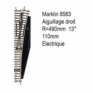 Rail aiguillage droit R 490, 110mm électrique -Z 1/220-MARKLIN 8563
