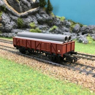 Wagon plat RN + tuyaux-HO-1/87-ELECTROTREN 1001/2 DEP64-129