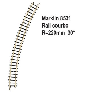 Rail courbe R220mm 30 degrès-Z 1/220-MARKLIN 8531