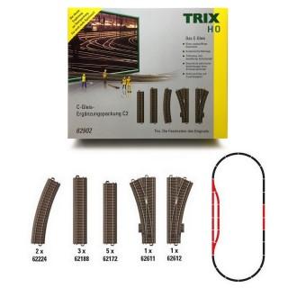Coffret de rails complémentaires C2-HO-1/87-Trix 62902