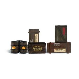 Set de tonneaux et caisses en bois-G 1/22.5-WOODLAND SCENICS A2564