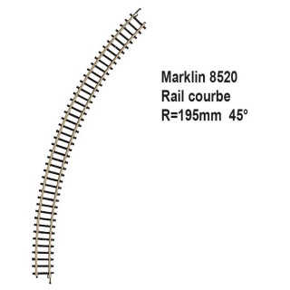 Rail courbe R195mm 45 degrès-Z 1/220-MARKLIN 8520