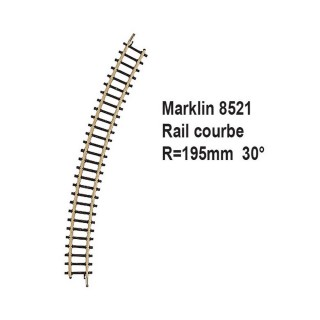 Rail courbe R195mm 30 degrès-Z 1/220-MARKLIN 8521