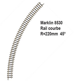 Rail courbe R220mm 45 degrès-Z 1/220-MARKLIN 8530
