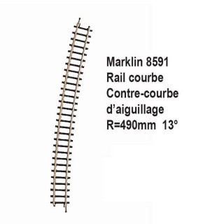 Rail contre courbe d'aiguillage R490mm 13 degrès-Z 1/220-MARKLIN 8591