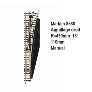 Rail aiguillage droit R 490, 110mm, 13 degrès manuel -Z 1/220-MARKLIN 8566