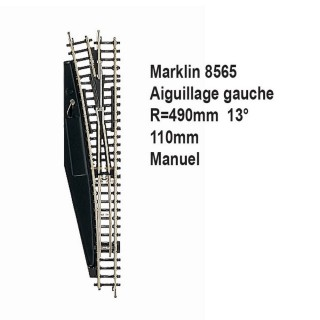 Rail aiguillage gauche R 490, 110mm, 13 degrès manuel -Z 1/220-MARKLIN 8565