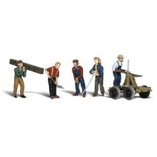5 ouvriers ferroviaire + accessoires-HO 1/87-WOODLAND SCENICS A1898