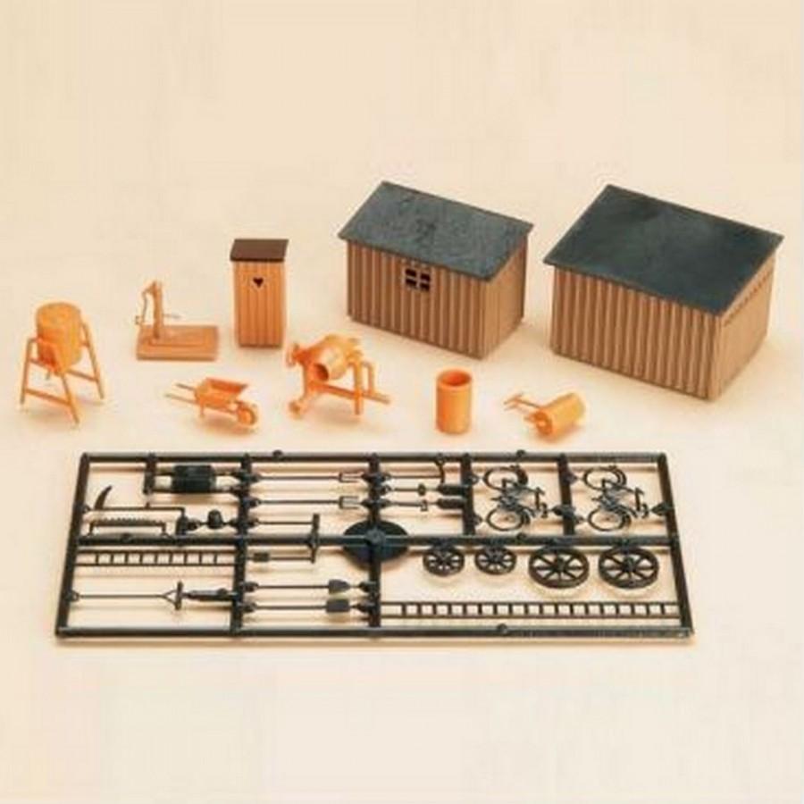 Cabanon, toilettes et outils-HO 1/87-AUHAGEN 42571