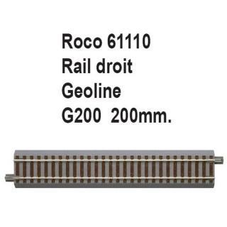 Rail droit geoline G200 200mm-HO 1/87-ROCO 61110
