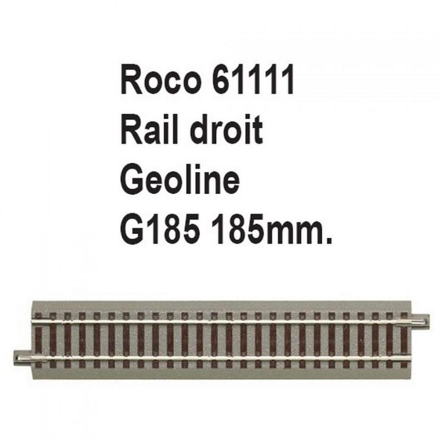 Rail droit geoline G185 185mm-HO 1/87-ROCO 61111