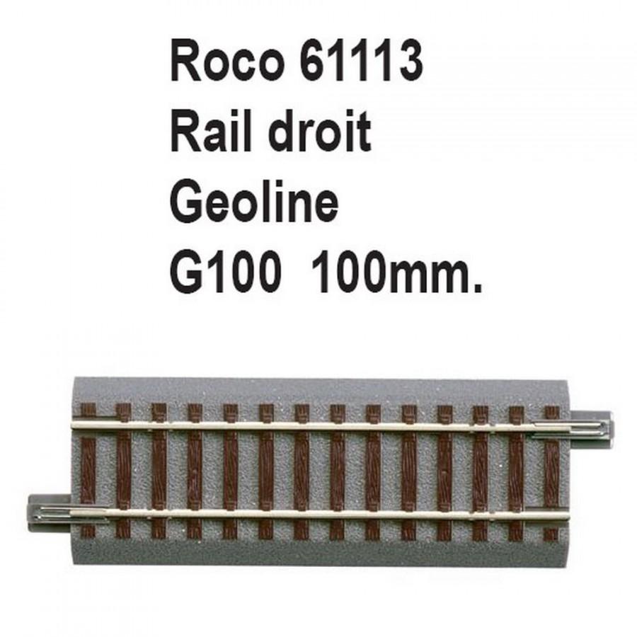 Rail droit geoline G100 100mm-HO-1/87-ROCO 61113