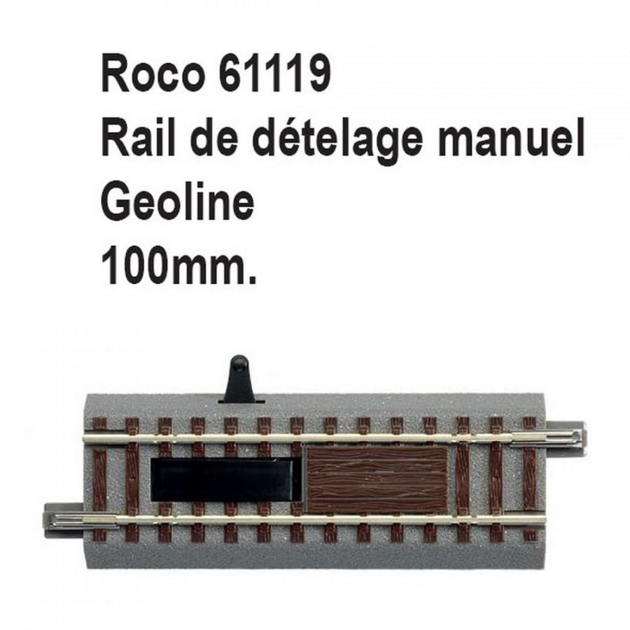 Rail de dételage manuel geoline 100mm-HO-1/87-ROCO 61119