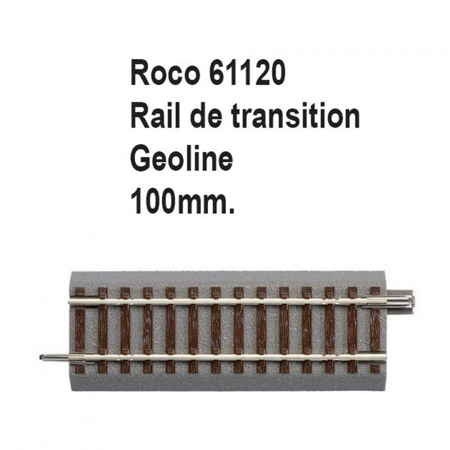 Rail de transition geoline 100mm-HO-1/87-ROCO 61120