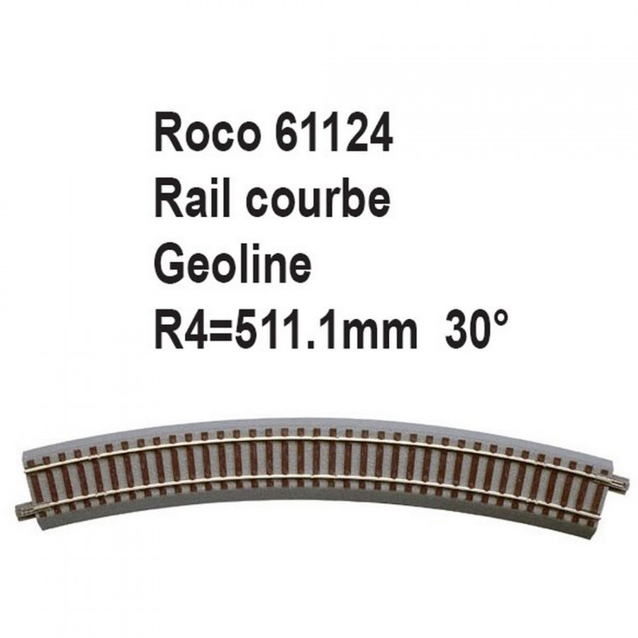 Rail courbe geoline R4 511.1mm 30 degrés-HO-1/87-ROCO 61124