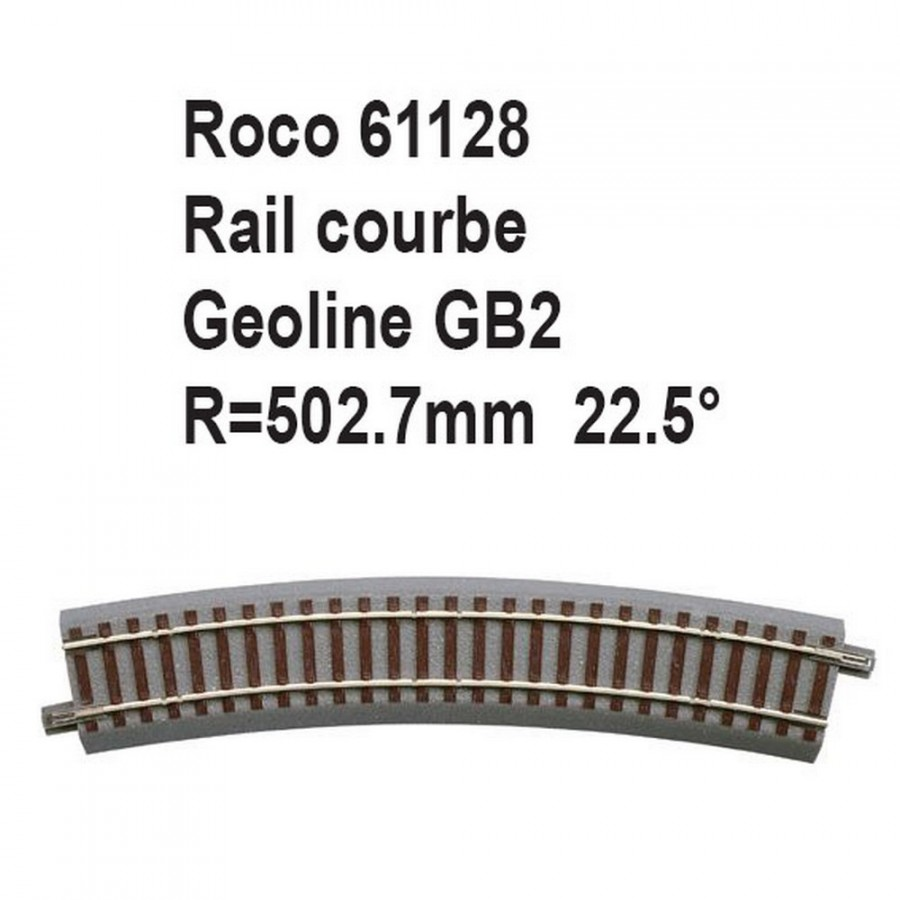 Rail courbe geoline GB2 502.7mm 22.5 degrés-HO-1/87-ROCO 61128