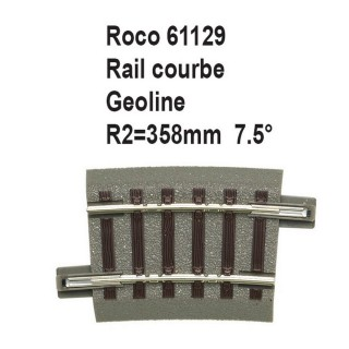 Rail courbe geoline R2 358mm 7.5 degrés-HO-1/87-ROCO 61129
