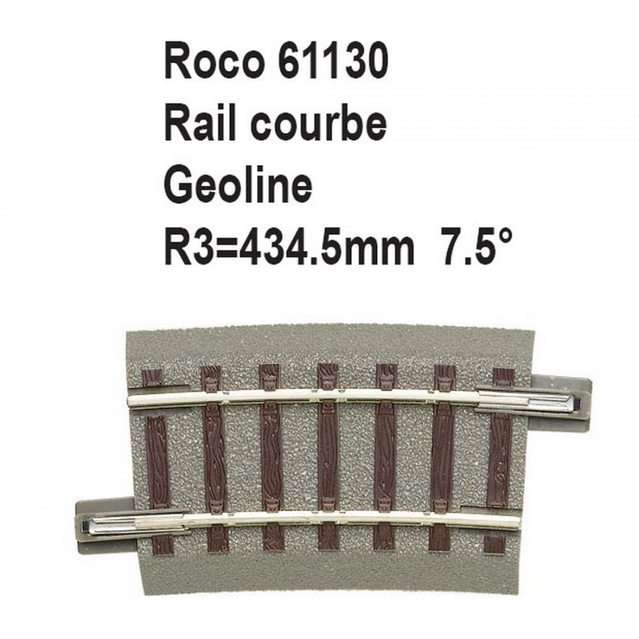 Rail courbe geoline R3 434.5mm 7.5 degrés-HO-1/87-ROCO 61130