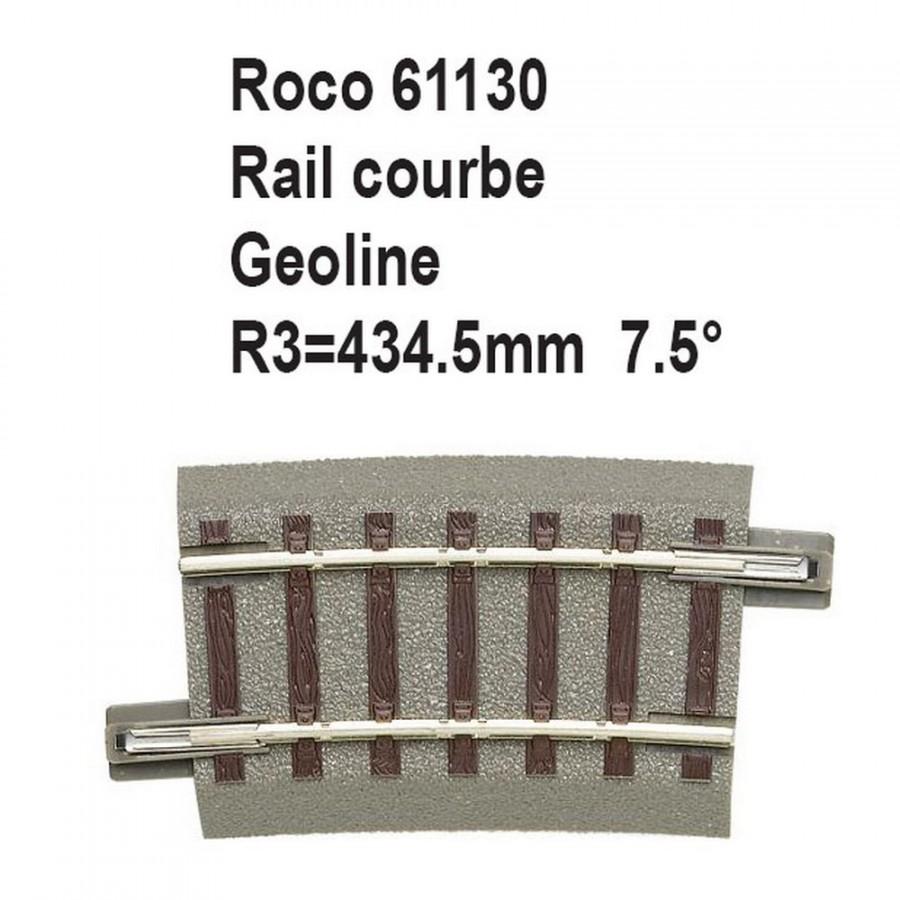 Rail courbe geoline R3 434.5mm 7.5 degrés-HO-1/87-ROCO 61130