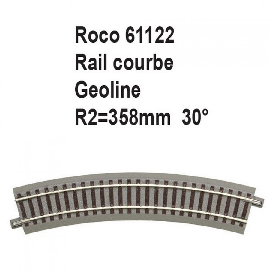Rail courbe geoline R2 358mm 30 degrés-HO-1/87-ROCO 61122