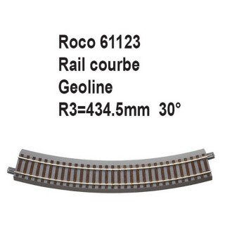 Rail courbe geoline R3 434.5mm 30 degrés-HO-1/87-ROCO 61123