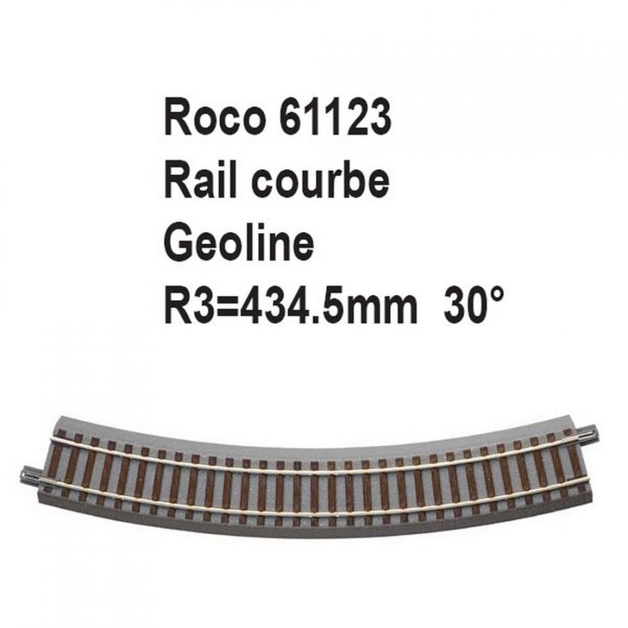 Rail courbe geoline R3 434.5mm 30 degrés-HO-1/87-ROCO 61123