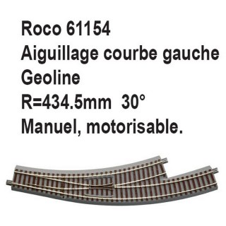 Aiguillage courbe gauche geoline R 434.5mm, 30 degrés-HO-1/87-ROCO 61154