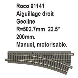 Aiguillage droit geoline R 502.7mm, 200mm, 22.5 degrés-HO 1/87-ROCO 61141
