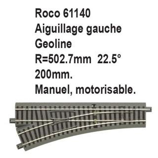Aiguillage gauche geoline R 502.7mm, 200mm, 22.5 degrés-HO-1/87-ROCO 61140