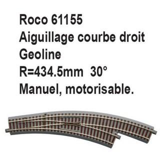 Aiguillage courbe droit geoline R 434.5mm, 30 degrés-HO-1/87-ROCO 61155