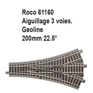 Aiguillage 3 voies geoline 200mm, 22.5 degrés-HO-1/87-ROCO  61160