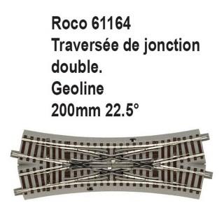 Traversée de jonction double geoline 200mm 22.5 degrés-HO-1/87-ROCO 61164