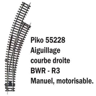 Aiguillage courbe droit BWR-R3-HO-1/87-PIKO 55228