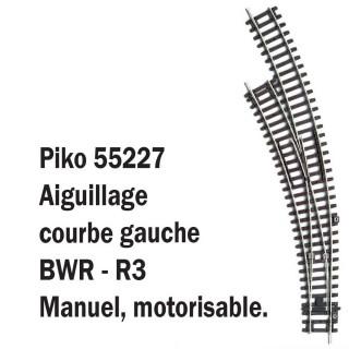 Aiguillage courbe gauche BWR-R3-HO-1/87-PIKO 55227