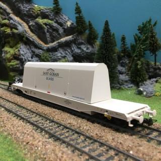 Wagon transport de vitres St Gobain SNCF ép IV-HO-1/87-HERIS 15030