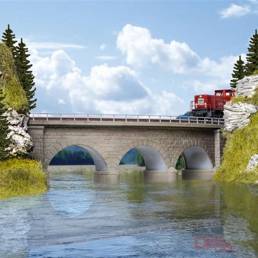 Pont à arc courbe 1 voie en maçonnerie-N-1/160-KIBRI 37661