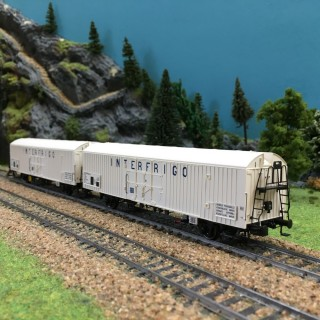 Coffret de 2 wagons couverts INTERFRIGO SNCF ép IV-HO-1/87-LSMODELS 30226