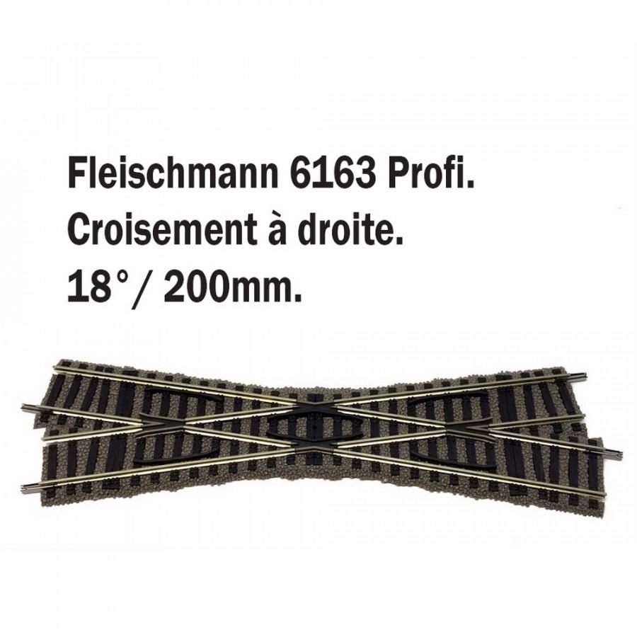 Croisement droit 18° 200mm-HO-1/87-FLEISCHMANN 6163