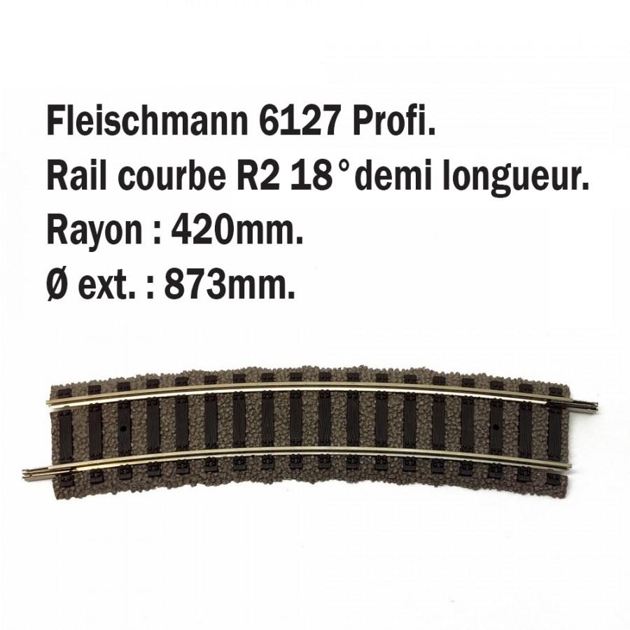 Petite rail courbe R2 18°-HO-1/87-FLEISCHMANN 6127