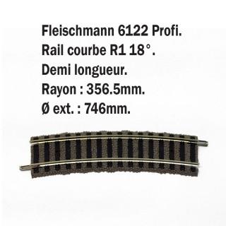 Petite rail courbe R1 18°-HO-1/87-FLEISCHMANN 6122