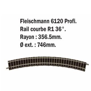 Rail courbe R1 36°-HO-1/87-FLEISCHMANN 6120