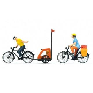 Balade familiale à vélo-HO-1/87-PREISER 10636