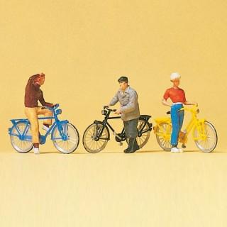 3 cyclistes + velos-HO-1/87-PREISER 10515