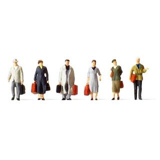 6 voyageurs marchants époque III-N-1/160-PREISER 79219